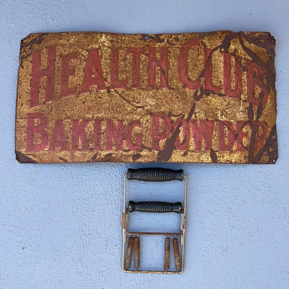 1950's metal Health sign & grip strength exercise
